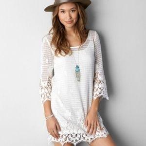NWT! AEO Crochet Lace Mini Dress Tunic/Cover-Up S